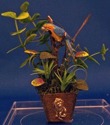 Tropical Floor Plant with Blue McCaw