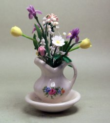 Spring Flowers in a Bowl and Pitcher