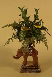 Tropical Ferns and Leaves in Elephant Urn