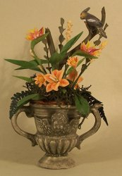 Cockatiel and Birds of paradise in Green Urn