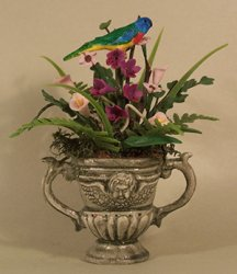 Orchids in green Urn with Bird