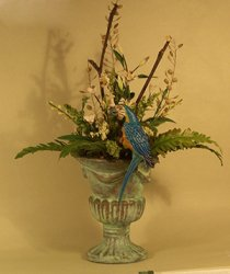 Parrot with White Tropical Flowers in Green Urn