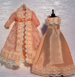 Peach Lace Negligee Set