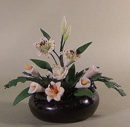 White Lilies in a Black Bowl