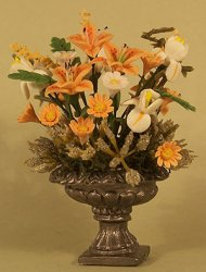 Tiger Lilies and Iris in Pewter Urn