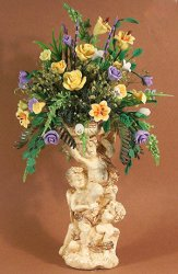 Ivory Cupid urn with Mixed Floral Floor Arrangement