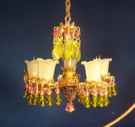 Rose and Olive Crystal Chandelier