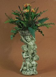 Tropical Bird of Paradise and Ferns in a Verdigis Cupid Urn