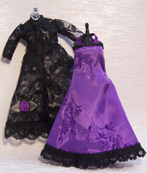 Black Lace Negligee and Violet Nightgown
