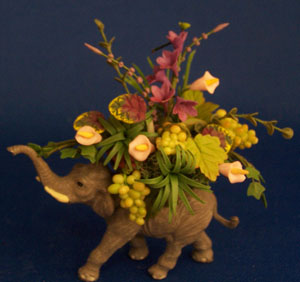 Elephant with Purple Orchids
