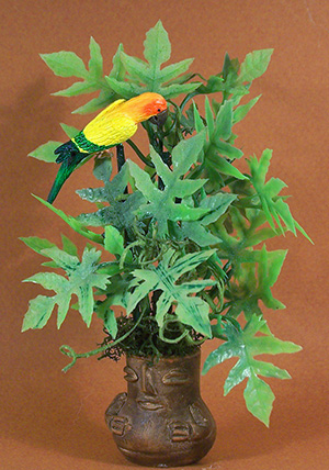 Floor Plant with Parrot
