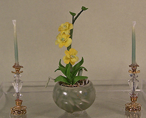 Orchids in Green Bowl with Crystal Candlesticks