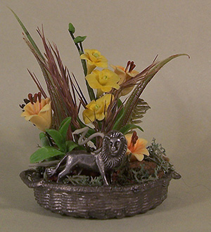 Floral Basket with Pewter Lion