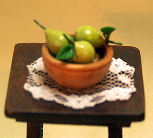 Pears in Wooden Bowl and Lace Doily