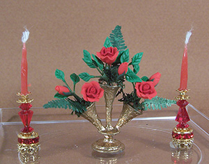 Red Roses In Gold Vase with Ruby Crystal Candlesticks