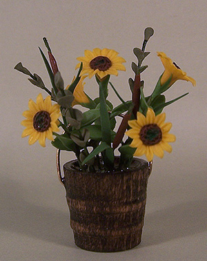 Sunflowers and Cattails in Wooden Bucket