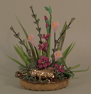 Basket Floral with Gold Tiger