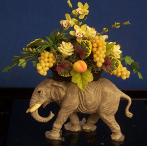 Elephant with green Orchids